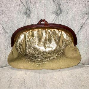 Vintage Valeri Gold Crinkle Leather Clutch
